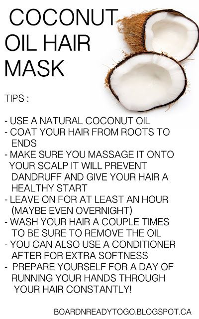 Coconut oil hair mask OMG i did this the other day and it was amazing my hair was so soft i didnt even use coditioner at work everyone complemented my hair