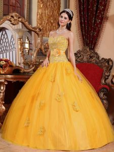 Attractive Gold Tulle Sweetheart Sweet Sixteen Dress with Appliques