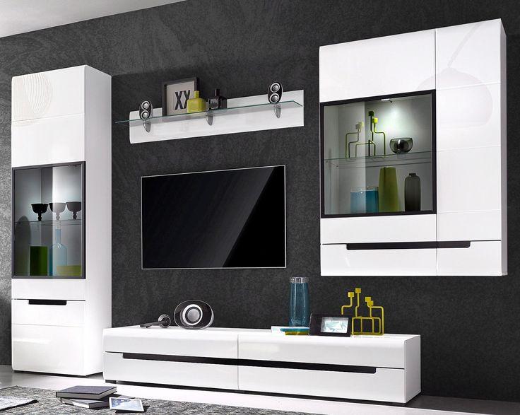 m s de 25 ideas incre bles sobre wohnwand wei hochglanz en pinterest wohnwand hochglanz. Black Bedroom Furniture Sets. Home Design Ideas