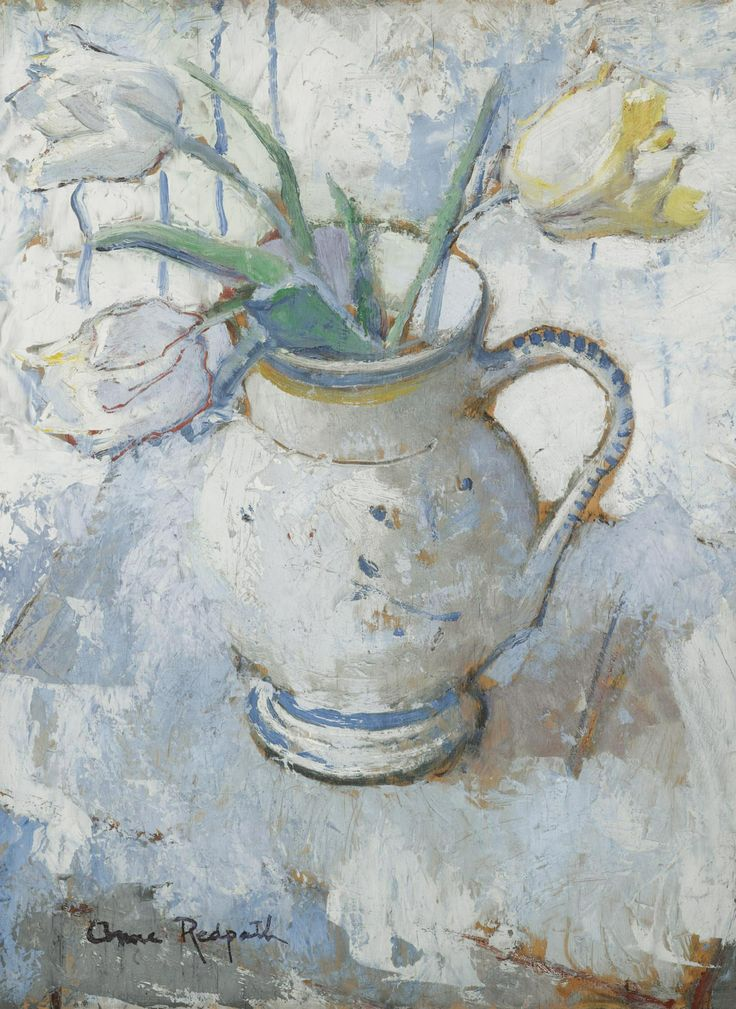 Anne Redpath - White and yellow tulips in a blue and white jug@@