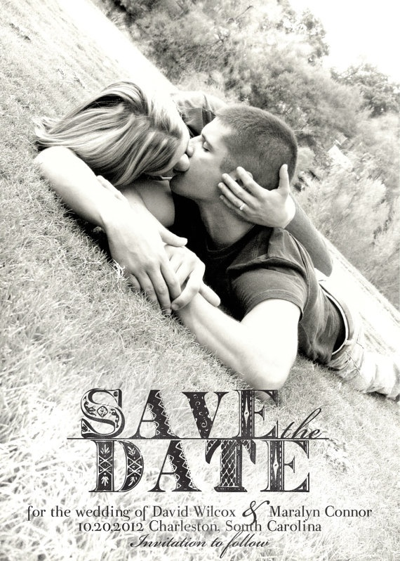 Photo Save the Date card with a rustic, romantic feel.  Black and white photo.