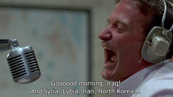 *Plays What A Wonderful World* ;D Goodness, I watch so many sad war movies, and this one is always a great one to end a movie marathon with.  *Good Morning, Vietnam- 1987*