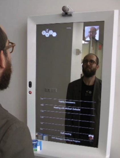 interactive mirrors tell weather, news, diet progress, and more. Imagine these running with interesting facts in school bathrooms. Learning everywhere! :)