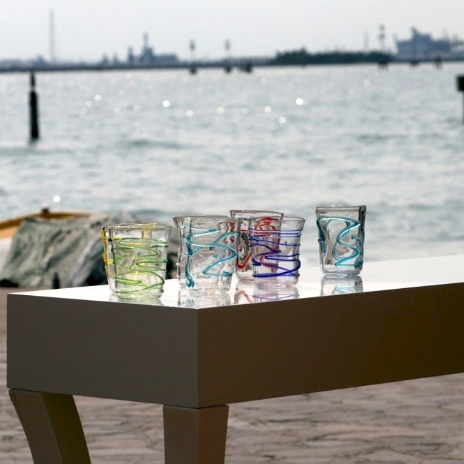 Iced Set - 6 Pcs - Photo Location: Murano, Venice, near the Seguso glassmaking furnace #yourmurano #icedset #murano #muranoglass