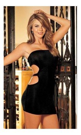 Czarna mini sukienka z odkrytymi plecami i wycięciami na bokach. Znajdziesz ją na Diores.pl  #sukienka #bielizna #małaczarna