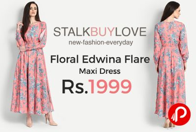 StalkBuyLove is offering Floral Edwina Flare Maxi Dress at Rs.1999 Only. Lined, Keyhole at back, Elastic at sleeves, Slit open sleeve, High slits on sides, Elasticated waist.  http://www.paisebachaoindia.com/floral-edwina-flare-maxi-dress-at-rs-1999-only-stalkbuylove/
