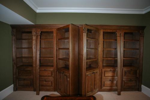 Bookcase to hidden gun room
