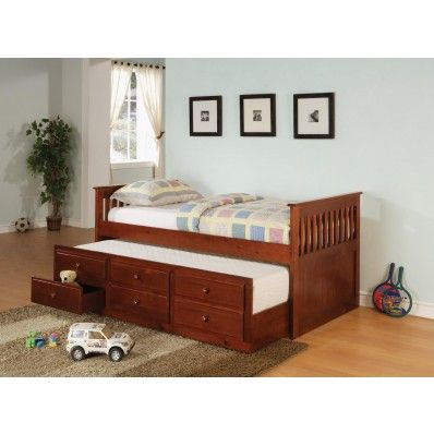 Cherry Solid Wood Daybed with Trundle and Storage 300105 by Coaster MyPriceForYou.com - Affordable furniture