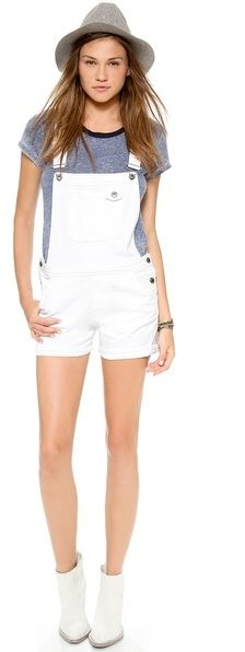 White Overall Shorts by MiH Jeans. Buy for $265 from shopbop.com