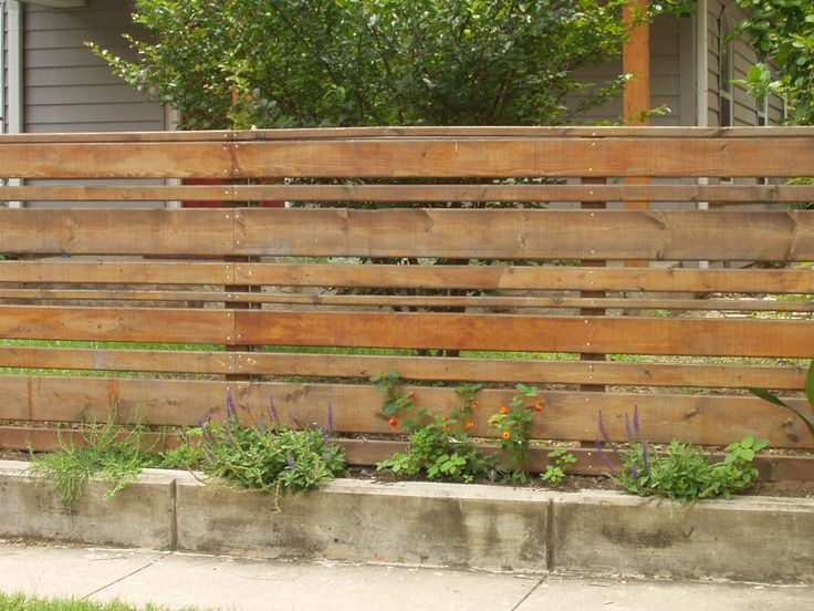 Horizontal wood slat fence Garden and outside stuff
