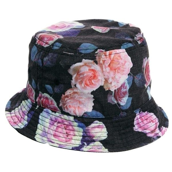 ASOS Bucket Hat In Black With Floral Print ($7) ❤ liked on Polyvore featuring men's fashion, men's accessories, men's hats, hats, accessories, black, mens bucket hats and mens floral hats