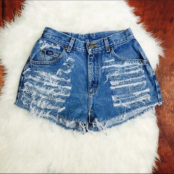 ✨Ripped denim high waisted shorts Small waist big hip measurement Lee Shorts Jean Shorts