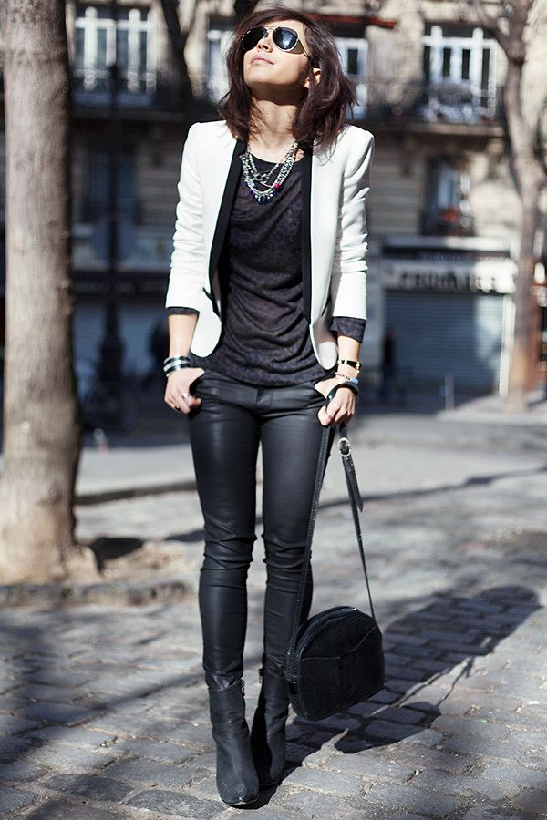 Zoé Alalouch - Mango Blazer, Zara Pants, Acne Studios Boots, Naf Blouse - BLACK & WHITE