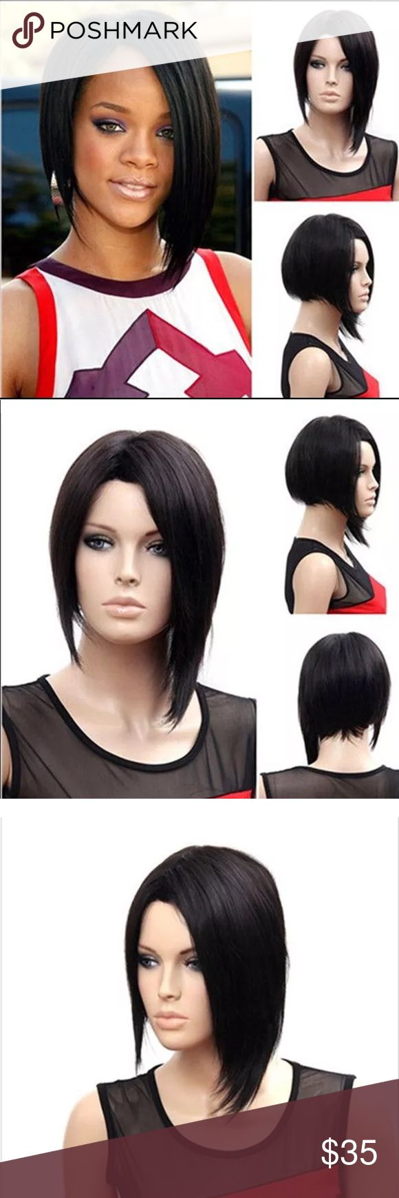 """12"""" Straight Jet Black Angled Bob Wig Short angled bob Length: Approximately 12"""" Color: Jet Black   Cap Size: Average Size~it is adjustable~ Material: Shiny Heat Resistant High Temperature Synthetic Fiber material is very similar to human hair with it's appearance, color and feel  It can be straightened and curled at lower temperatures (150 degrees Celsius) It is soft, silky and looks and feels just like your real hair 🛑 NOT recommend for dying and bleaching Other"""