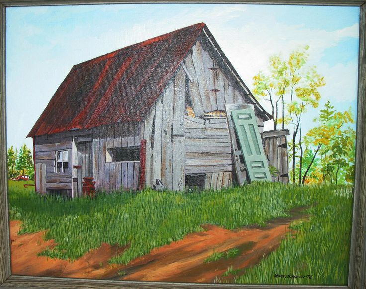 Historical Family Home/Barn, MT. Albert, Ontario, Canada, Acrylic on Masonite Panel