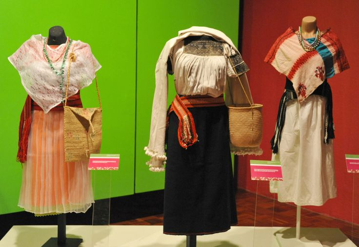 https://flic.kr/p/ZN4sU4   Mexican Clothing Textiles from Puebla   From an exhibition at the Museo Regional de Puebla -- three mannequins dressed in the clothing of women from three different ethnic communities in the state of Puebla. At left: Totonac. Center: Nahua. At right: Tepehua
