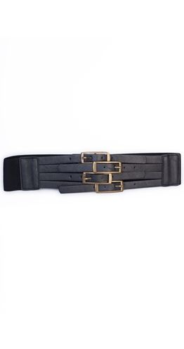 Unleash your inner Anastasia and buckle up in the Buckle Me Up Belt. A snap closure on the back means you don't actually have to buckle up each one but we won't tell.  Vegan leather Tarnished gold buckles Snap closure on back, buckles are not functional Elastic back stretches to fit most 60% PVC 40% Polyester $22.95
