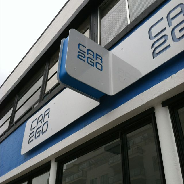Bent metal cut out signage at downtown San Diego car2go retail storefront…