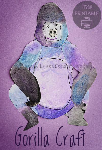 Gorilla Printable Craft | LearnCreateLove.com