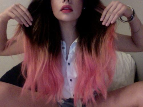 light pink and black ombre | Dip Dye On Brown Hair ...