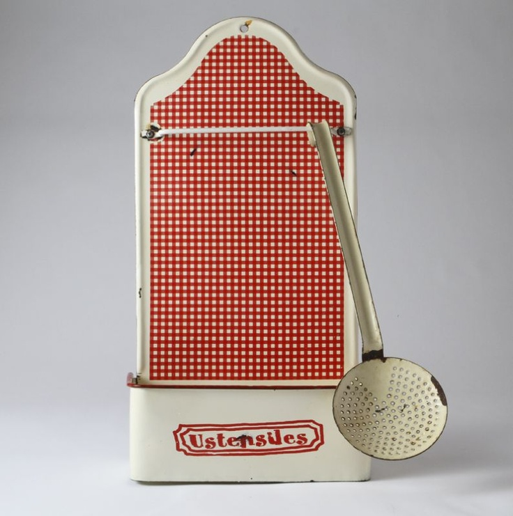 Kitchen Accessories | French Enamel Red/cream Utensil Holder |  Frenchenamelutensilholder 106 French Vintage