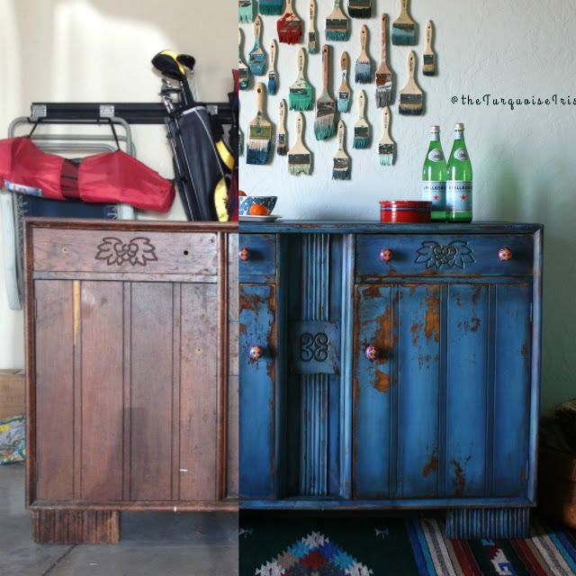 The Turquoise Iris ~ Vintage Modern Home: Cobalt Buffet Before & After