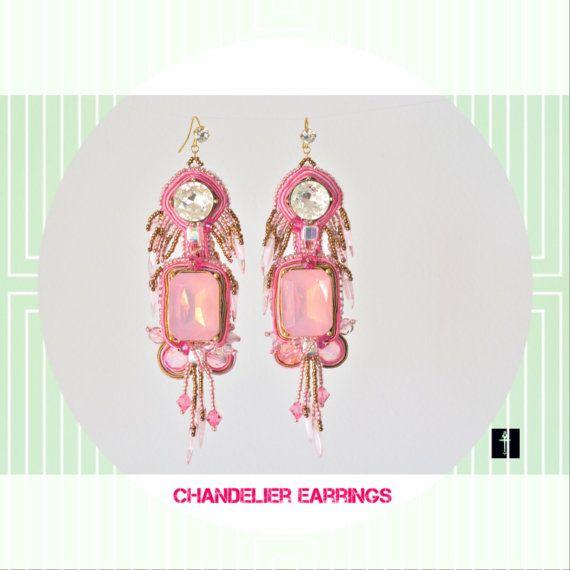 Chandelier soutache earrings & Embroidered Earrings by BYTWINS