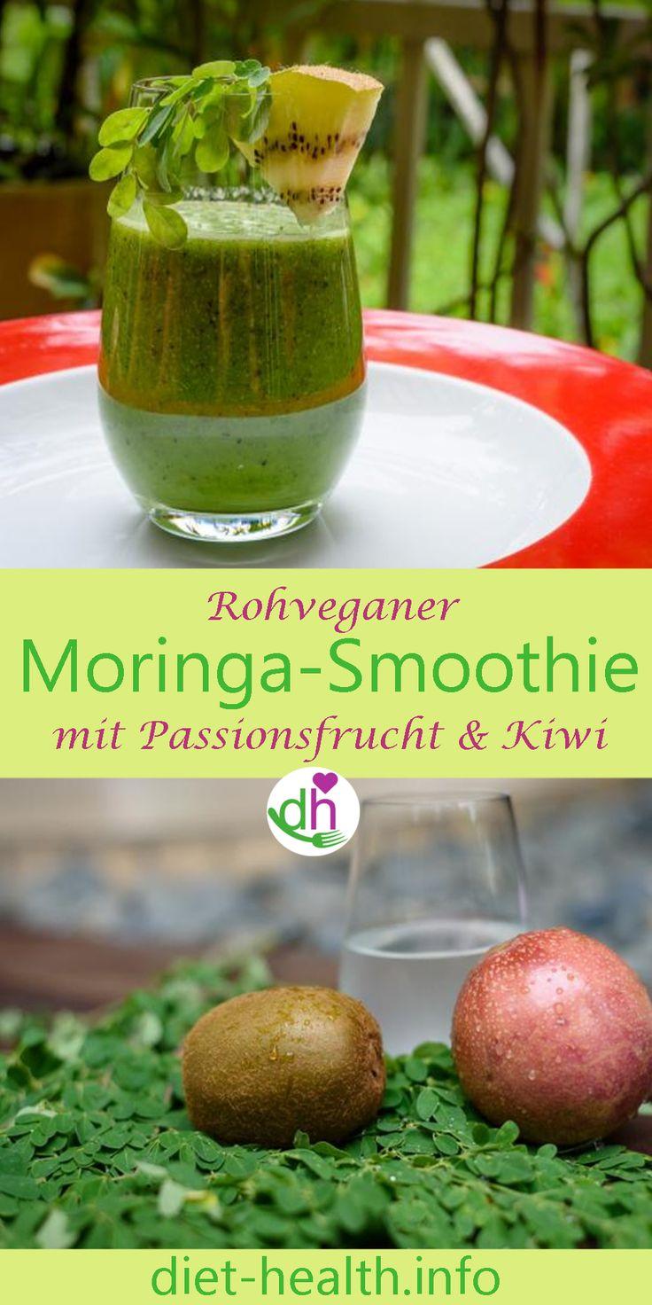 Rezept für Moringa-Smoothie mit Passionsfrucht und Kiwi. Moringablätter sind übrigens die Blätter des Meerrettichbaumes. Sie sind im Vergleich mit anderen Pflanzen reich an Calcium, Betacarotin, Kalium und Eisen. Moringabäume gelten als die nährstoffreichsten Gewächse der Erde! #vegan #plantbased