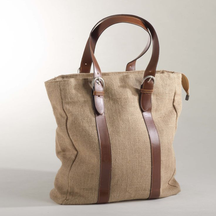 Dress up any outfit with this burlap design tote bag. Available in designer natural.
