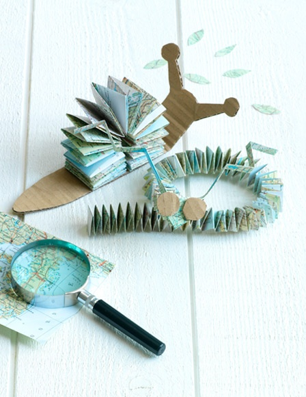 Paper snail with map