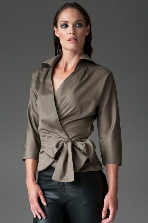 https://www.cityblis.com/5825/item/12539 | ABIGAIL KHAKI - $120 by The Shirt Company | With its shaped 3/4 sleeves and x-over front the Amelia shirt will effortlessly update your late summer wardrobe. Flattering on most figures and great on a bust.  The tie clinches in the waist and finishes with a generous bow.  Wrap Around Shirt with Bow Tie 96% Cotton/ 4% Elastane - Cotton Sate... | #Tops/Blouses