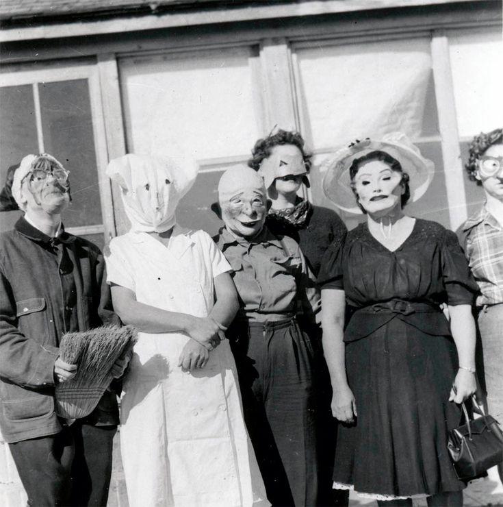antique costume photographs | vintage photo Costume Women Scary Eerie Halloween Masks unusual