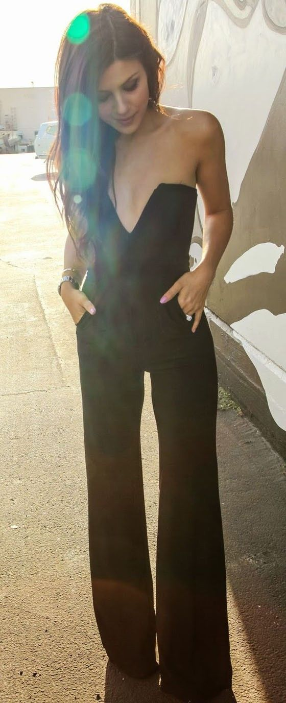 Black Plain Bandeau High Waisted Sexy Long Jumpsuit