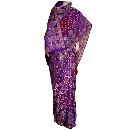 Gorgeous bandhani heavy bandhej saree in silk with zari weaving allover for weddings
