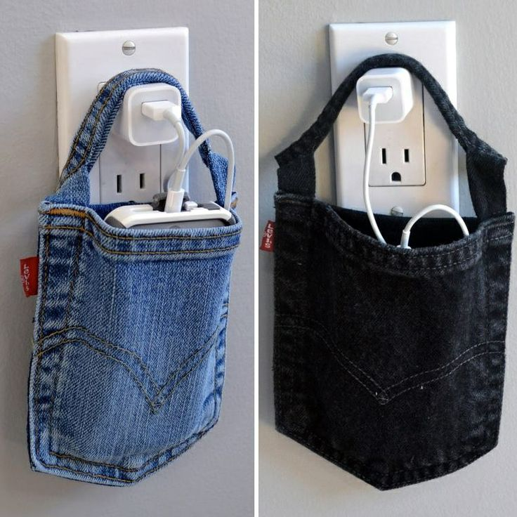 Old pants pocket repurposed to hold cell phones and ipods while charging them.
