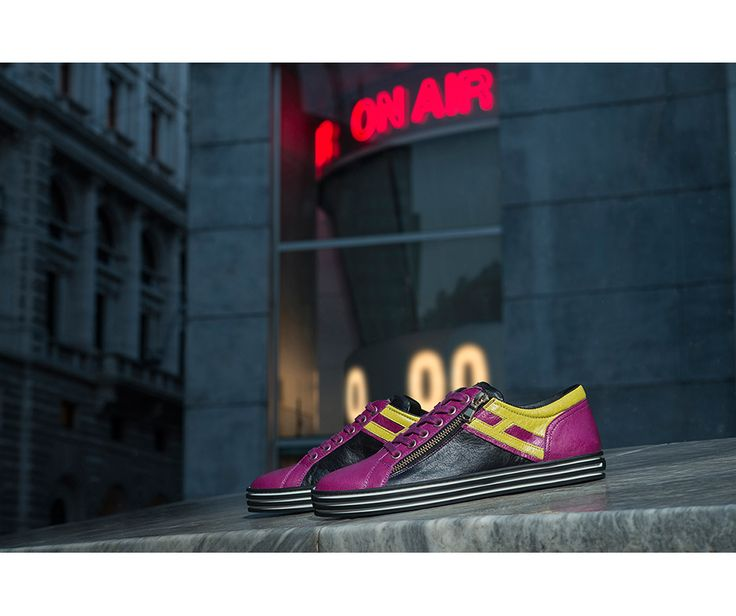#HOGANREBEL R141 #sneakers stand out with the bright colours contrast and the side zipe of street-glam inspiration.