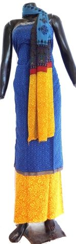 Handloom Maheshwari Cotton  SIlk Salwar Suit- Blue & Yellow. Buy chanderi silk cotton salwar suits, maheswari dress material, phulkari dupattas and phulkari