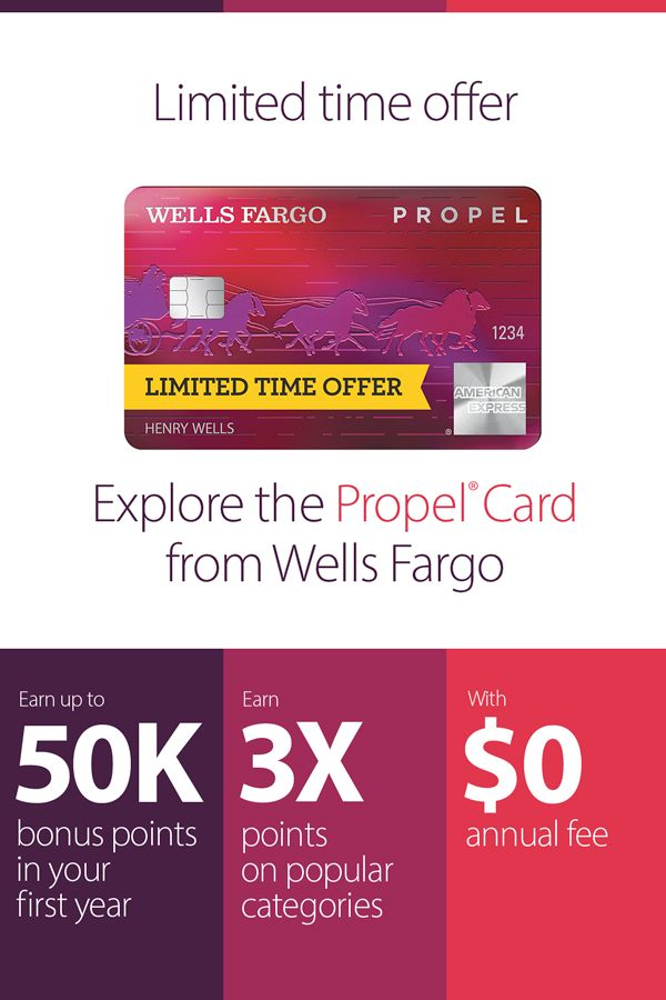 For A Limited Time Apply For And Use Your Wells Fargo Propel American Express Card To Earn Up To American Express Rewards American Express Card How To Apply