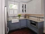 Clean looking kitchens, not too cookie-cutter.