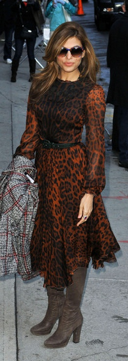 Who made  Eva Mendes' brown leopard dress that she wore in New York on March 20, 2013?
