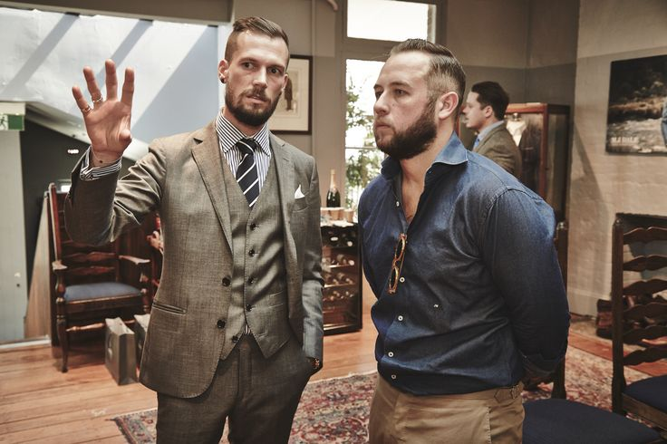 M.J. Bale Designer Dan Fitch and James Want from The Versatile Gent at the Autumn/Winter 2015 Press Launch.