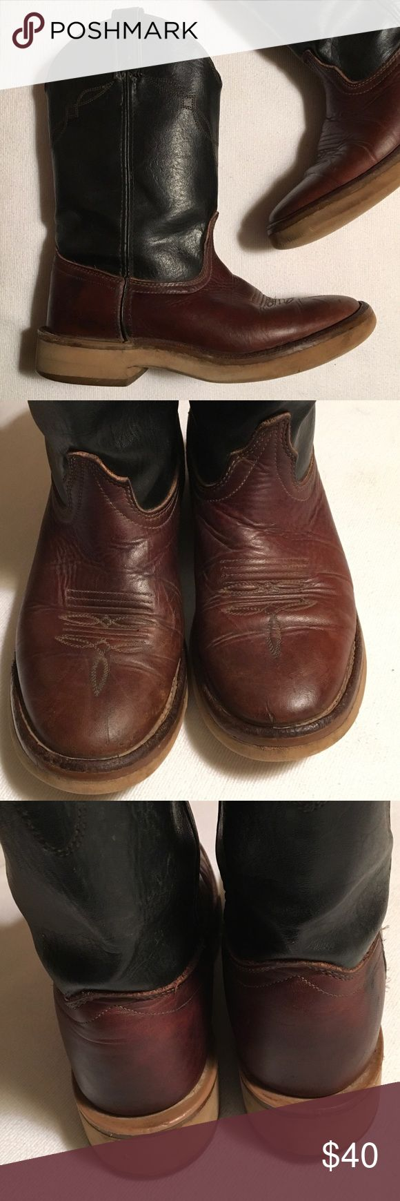 """Laredo Black Brown Ropers Boots sz 8-1/2 Great looking boots. Solid and clean. Insole replaced.  Heels and soles excellent. Pulls excellent.  Height 12"""". Laredo Shoes Combat & Moto Boots"""