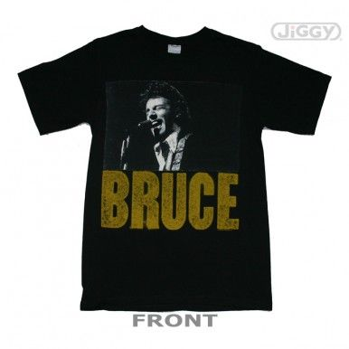 Bruce Springsteen t-shirt with picture of Bruce playing live and his name below it in block lettering.  Printed on a black 100% cotton t-shirt.
