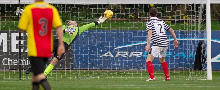 Queen's Park's keeper Marc Waters saves during the IRN-BRU Cup game between Partick Thistle Colts and Queen's Park
