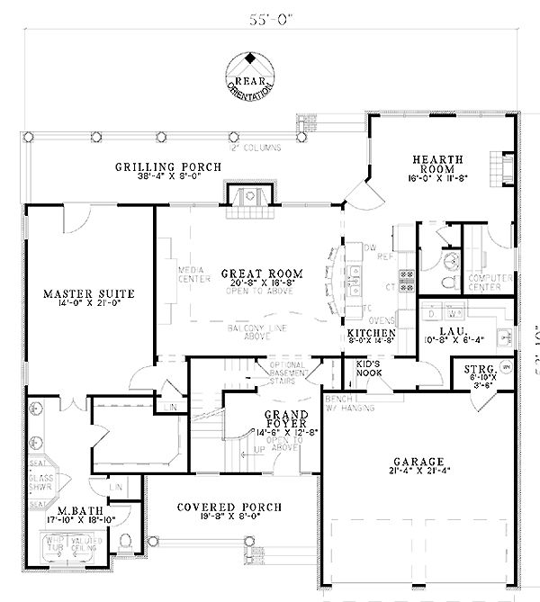 Craftsman house plan 61329 craftsman house plans and for House plans with hearth room