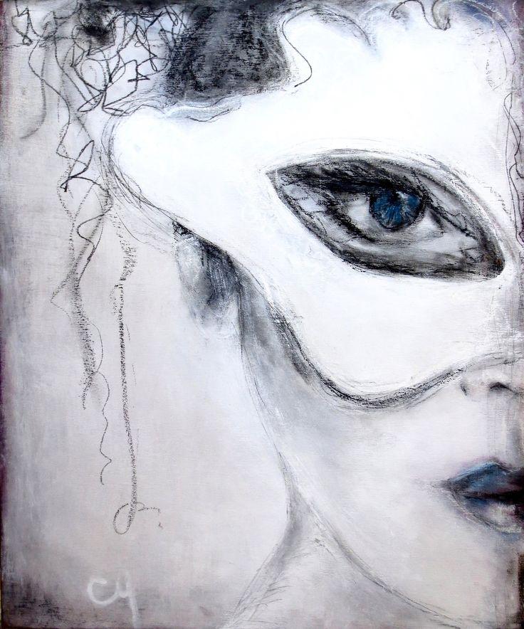Masque blanc par Christyne Proulx / Technique mixte sur bois / www.christyneproulx.com