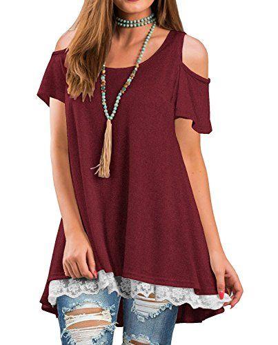a2bb4de489388 Off The Shoulder Women T Shirt Summer Short Sleeve Lace Patchwork Loose Tops  Blouse Burgundy