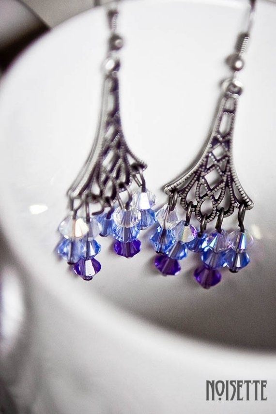 Blue Swarovski Earrings by noisettee on Etsy, €15.00