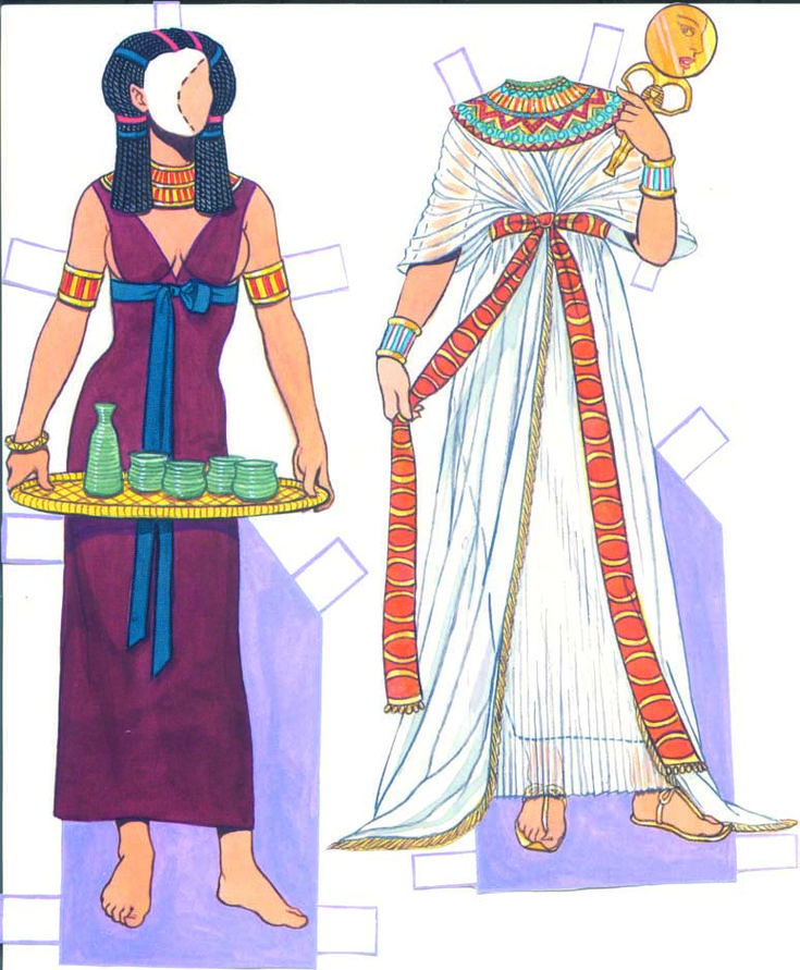 Ancient Egyptian Costumes- here the basic dress is covered by a toga like outer garment held by a belt. | Ancient egyptian clothing. Ancient ...
