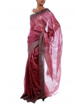 Pink Tussar Silk Saree by Julie Kagti